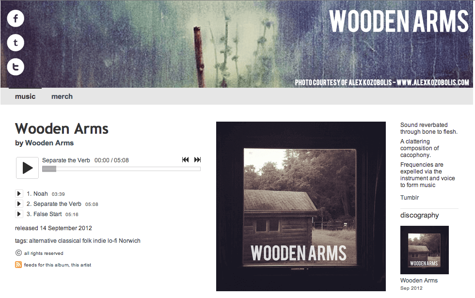 Wooden Arms Bandcamp Page