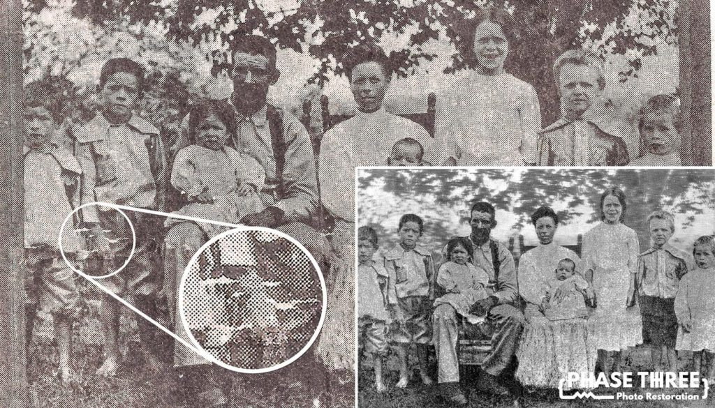 The before and after of a restored halftone photo