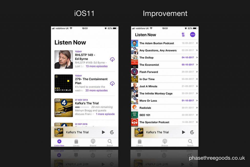 Apple iOS Podcast App UI - Listen Now