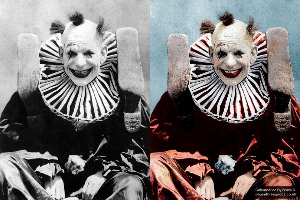 Lon Chaney Clown Colourised
