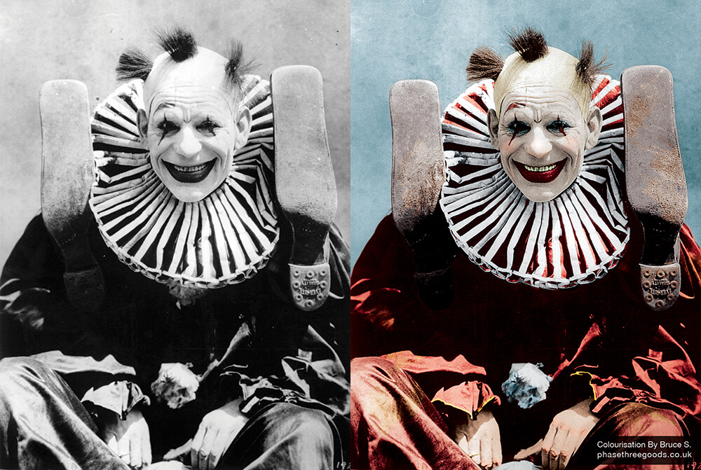 Lon Chaney Clown Colourised