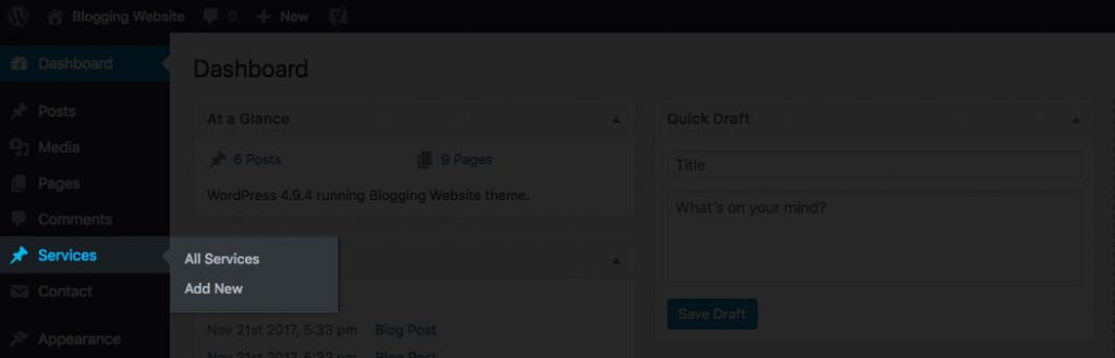 Wordpress Dashboard Custom Post Types
