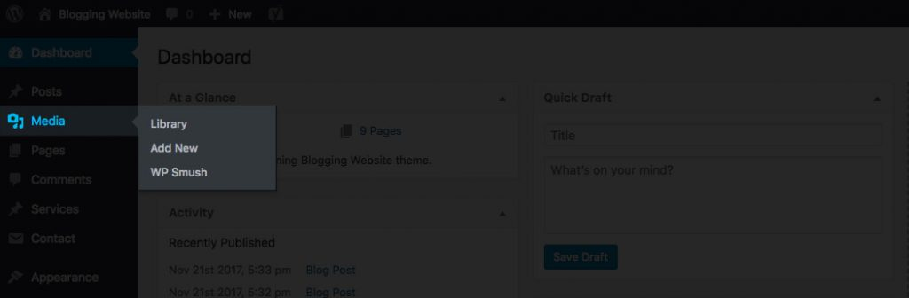 Wordpress Dashboard Media