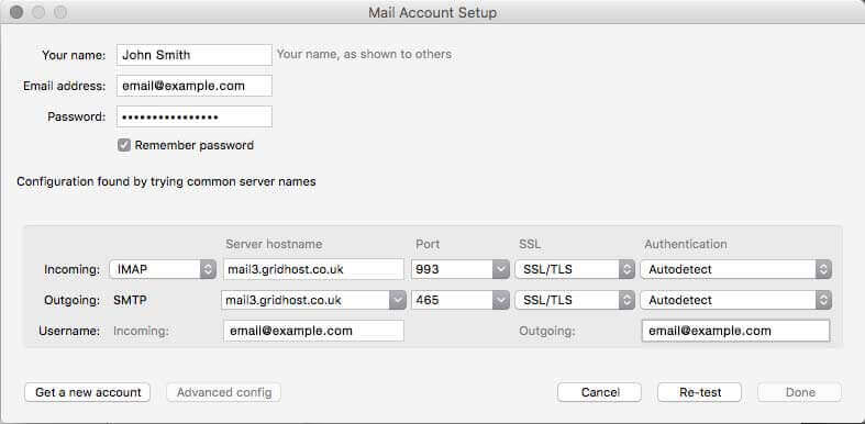 email setup with Thunderbird