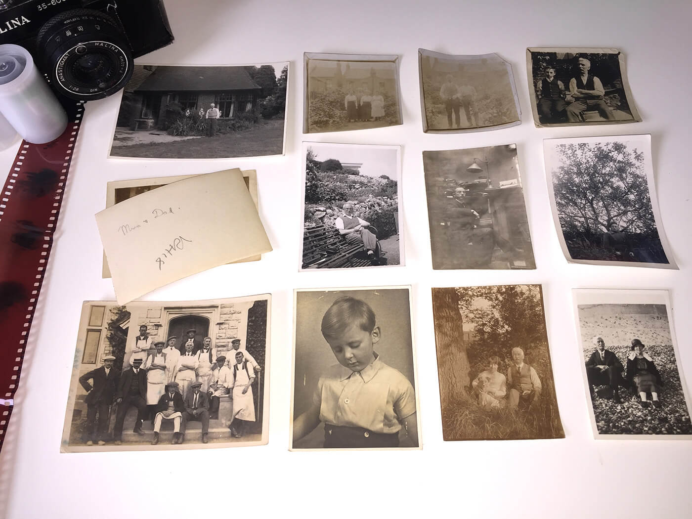 collection of black and white family photos