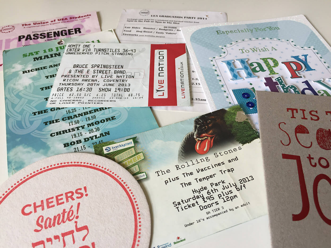 gig tickets, flyers and birthday cards