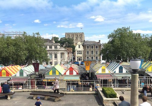 Norwich marketplace in summer