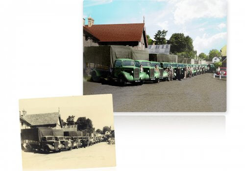 Elvy truck company, Norwich, colourised