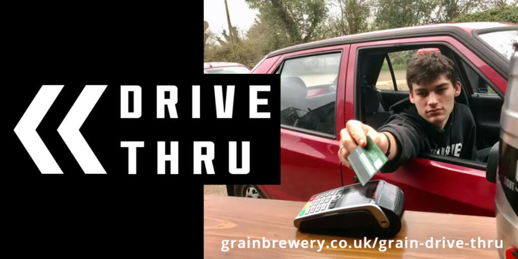 Grain Brewery Drive-Thru service in Norfolk, after the Covid19 lockdown