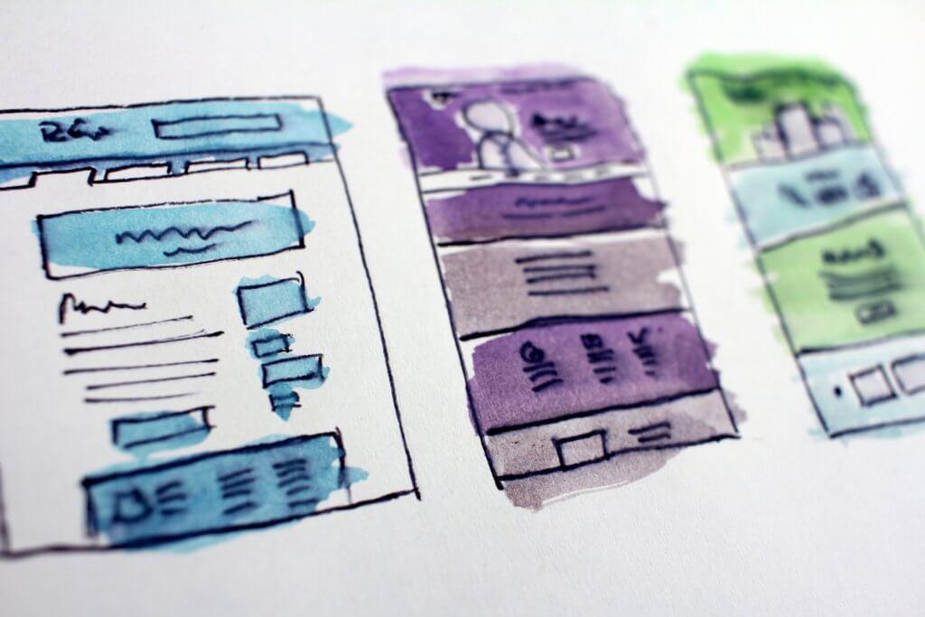 drawing a website plan on paper