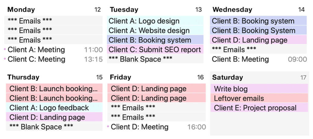 Scheduling client projects in the working week