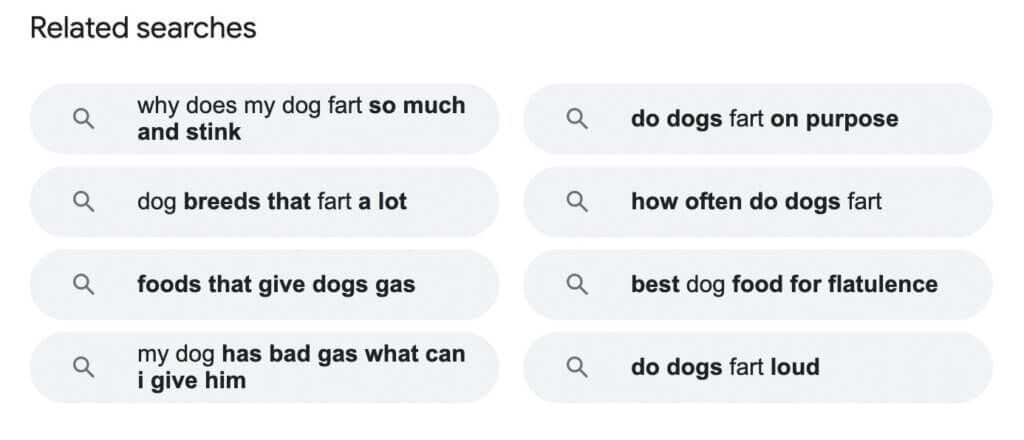 LSI keywords for dogs farting